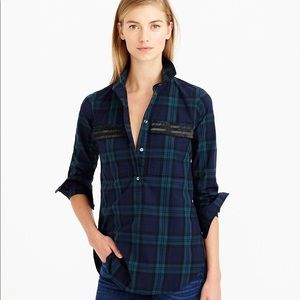 J Crew popover shirt in black watch plaid
